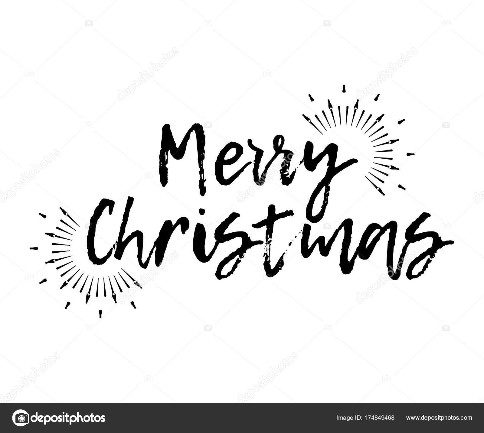 Lustige Weihnachtskarte mit Sunburst und Kalligraphie Frohe ...