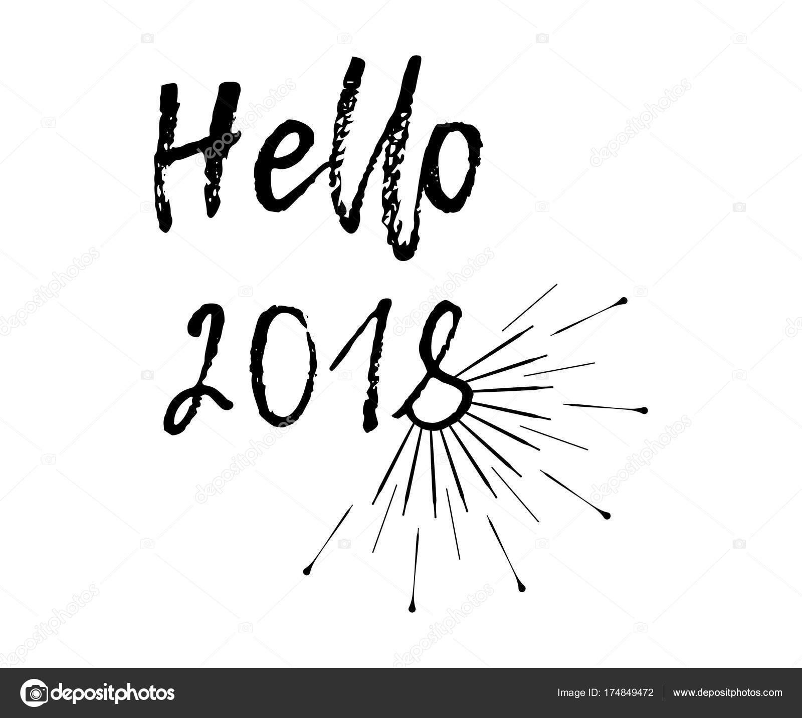 Lustige Weihnachtskarte mit Sunburst und Kalligraphie Hallo 2018 ...