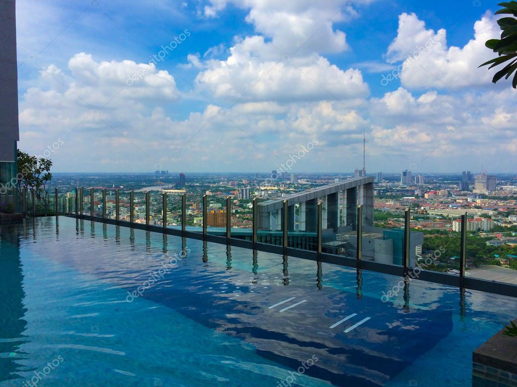 View of Bangkok and the pool at Sky Lounge. 41 Floor. Summer