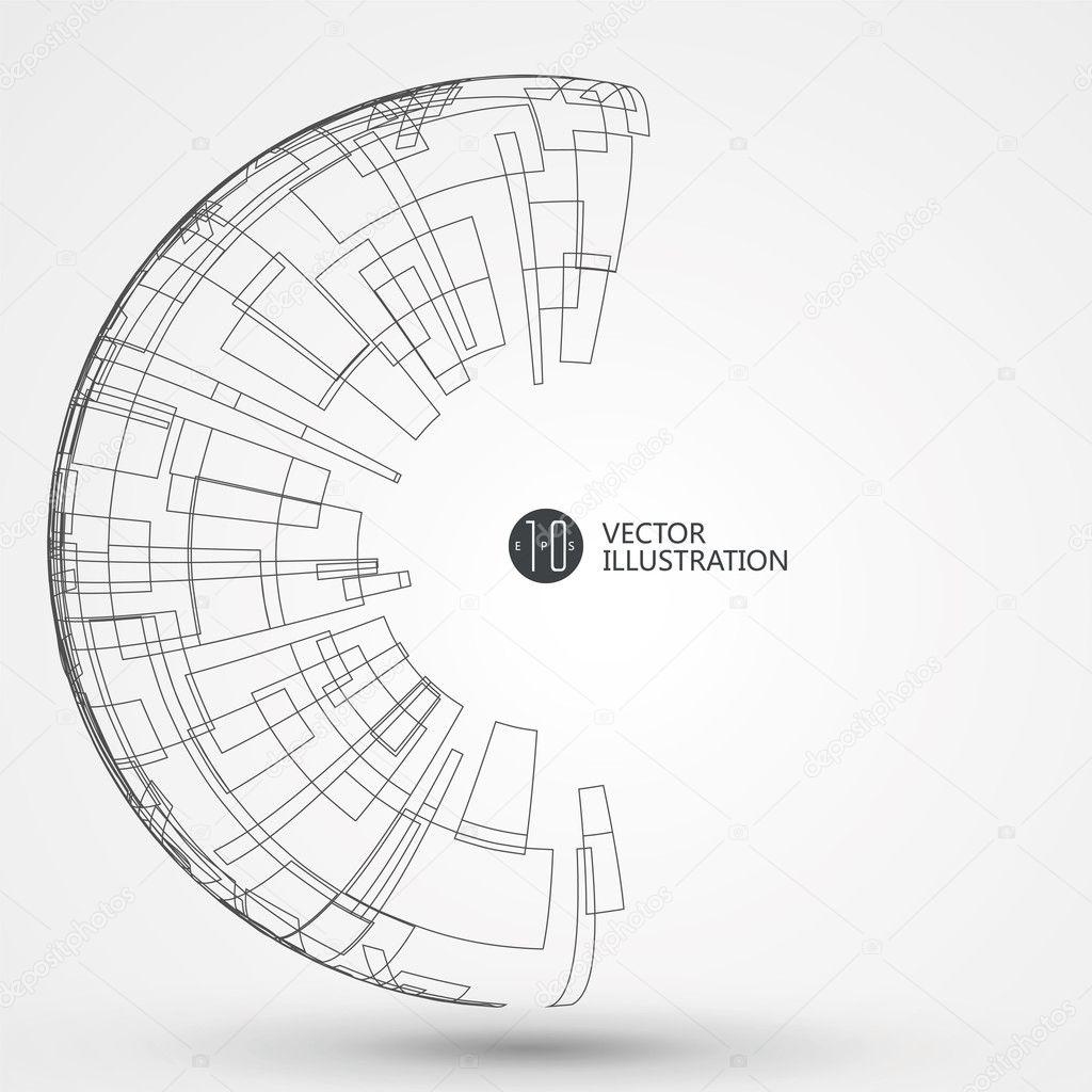 抽象的なワイヤ フレーム科学イラスト ストックベクター Liuzishan