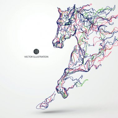 Running horse, colored lines drawing, vector illustration. clip art vector