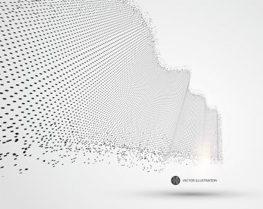 Wave-like pattern composed of particles, science and technology illustration.