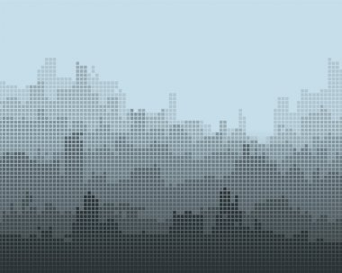 Mosaic composition of the city, the gradient effect.