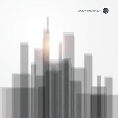 Modern city silhouette, vector illustration.