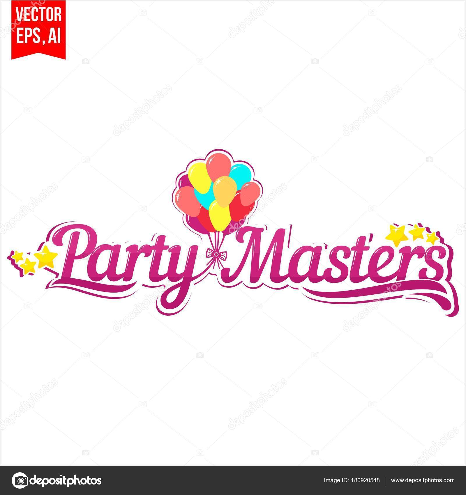 Party Masters Logo Laconic Stock Vector