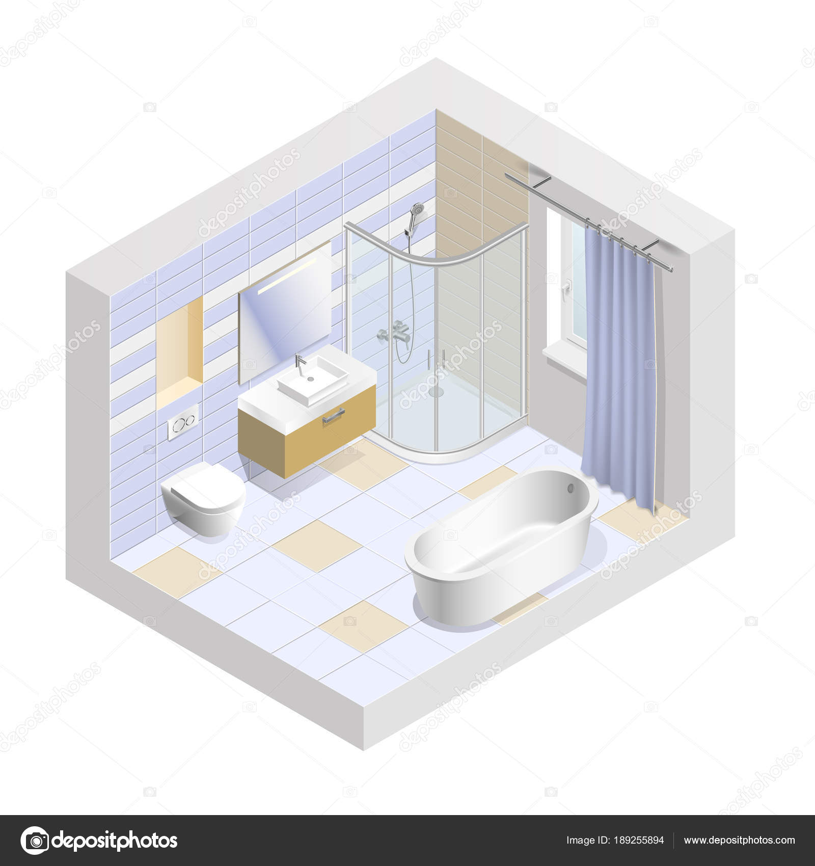 Modern bathroom interior isometric. Easy to change the color of the ...