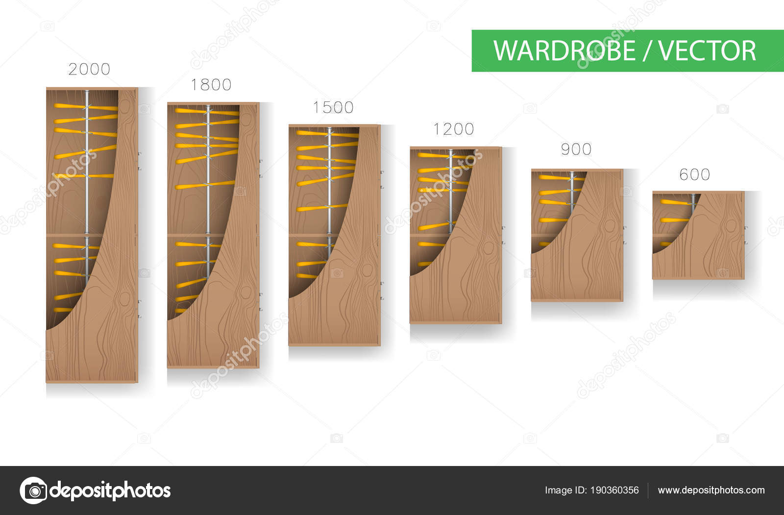 Wardrobe And Walk In Closet Furniture Top View For Interior Plan Vector Stock Vector