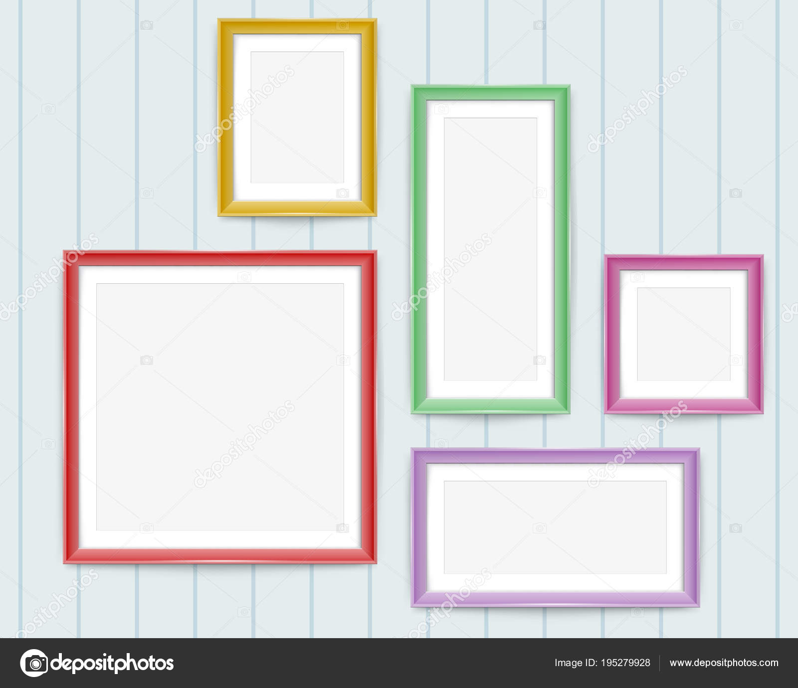 Set of colorful wooden frames. Frames of colorful set for your web ...