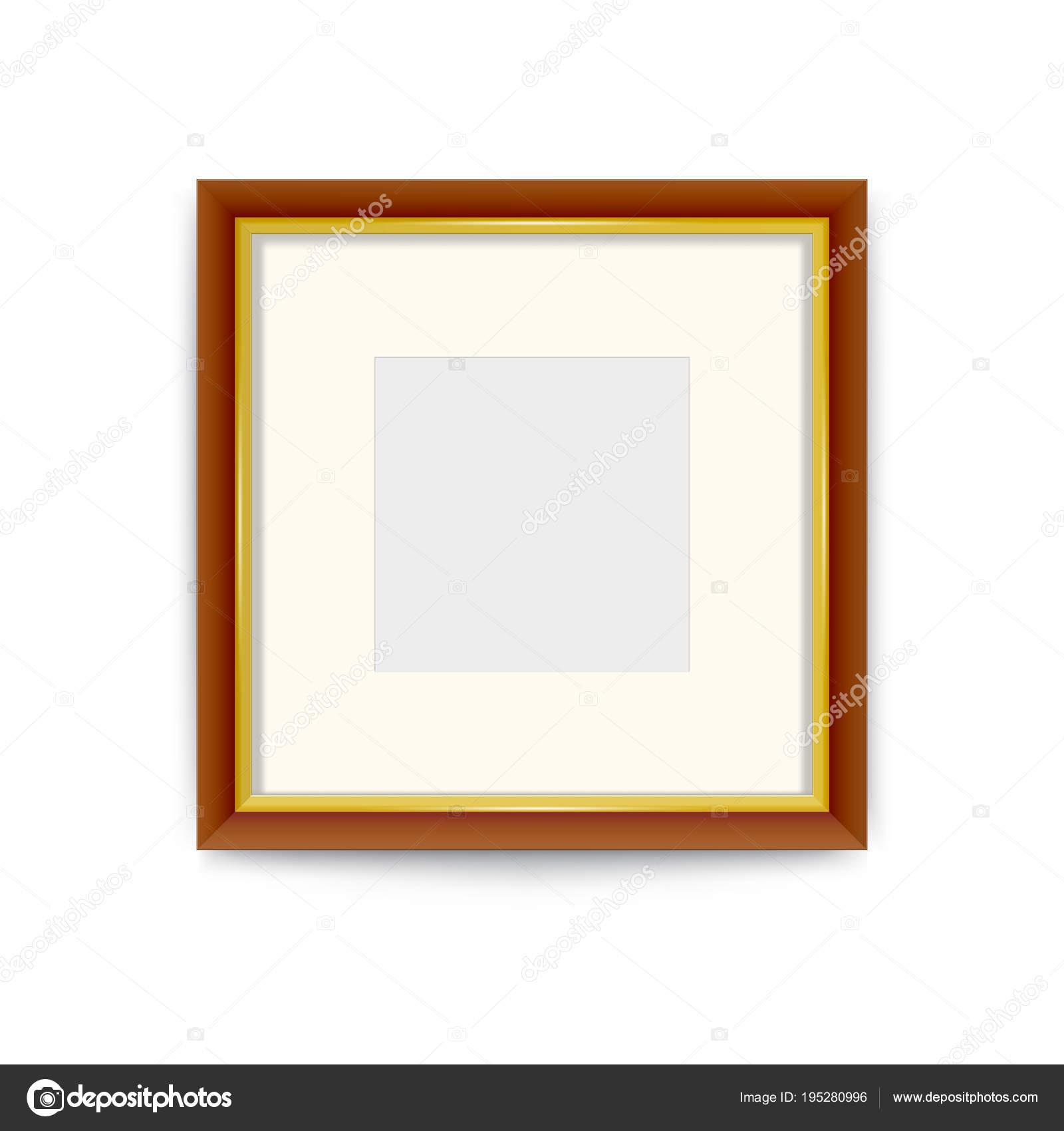 Oro con marco de madera de la foto. Cambiar fácilmente el tamaño del ...