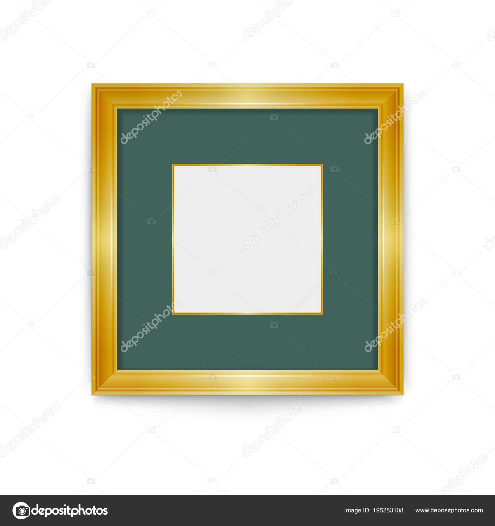 Gold frame with green passe-partout. Easily change the size of the ...