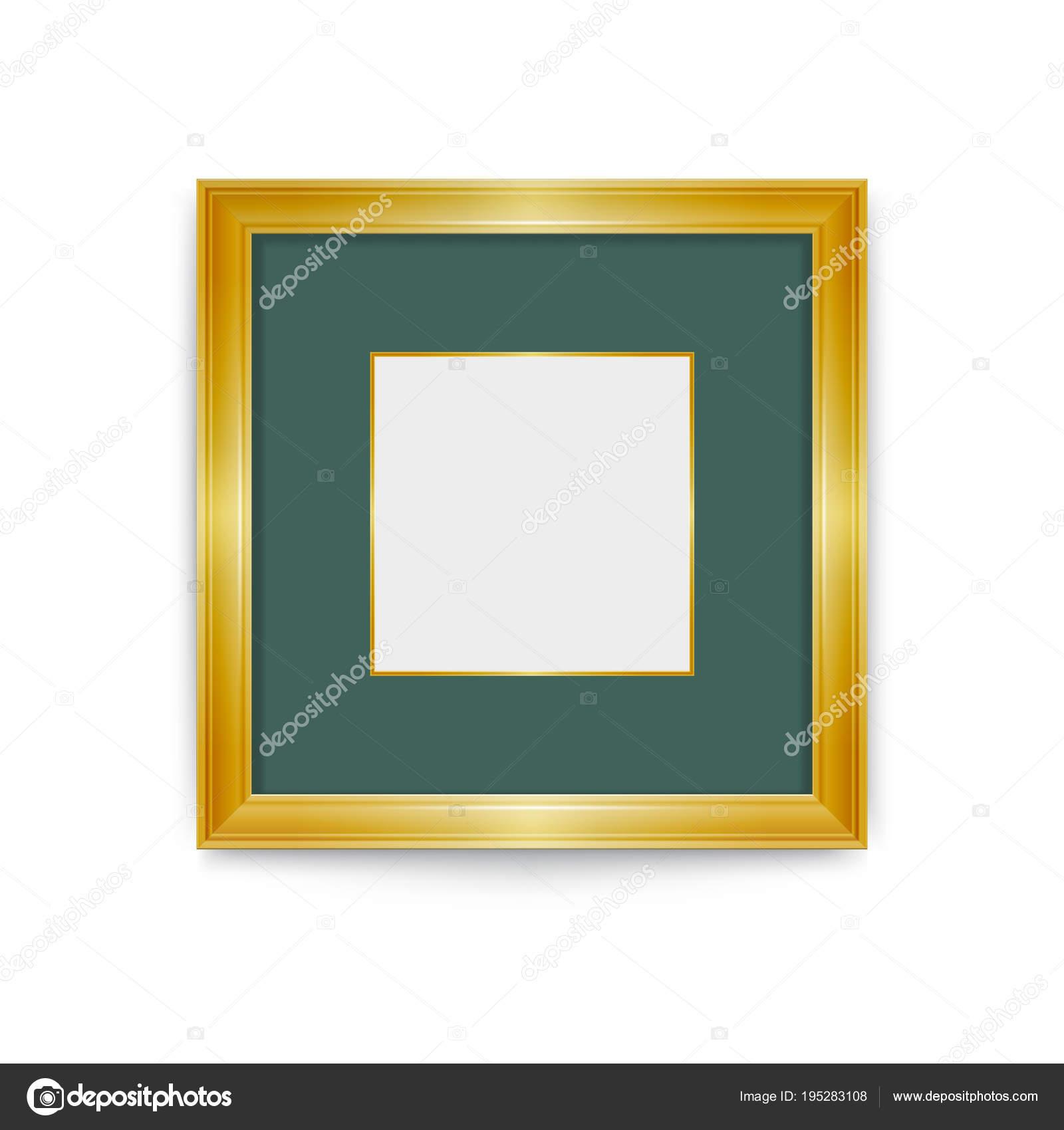 Goldrahmen mit grünem Passepartout. Ändern Sie leicht die Größe des ...