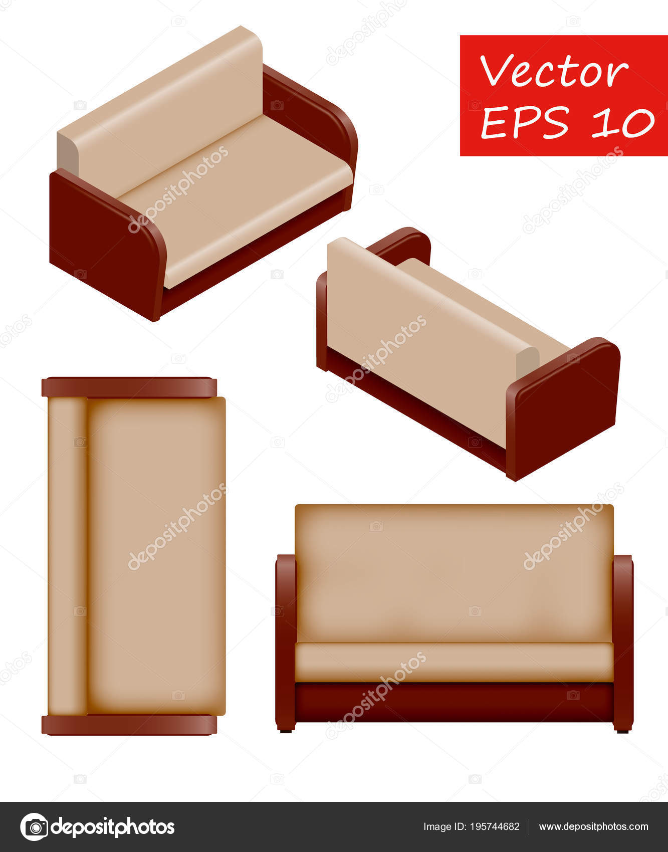 Set Of Isolated Isometric Sofa Vector Sofa Its Easy To Change The