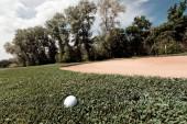 golfový míček na zelené trávě, poznámka mělká hloubka pole
