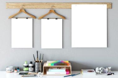 Frame mockup, Poster mock-up, Product Mockups, Canvas Mockup, Presentation art work, scandinavian style  Stock Image
