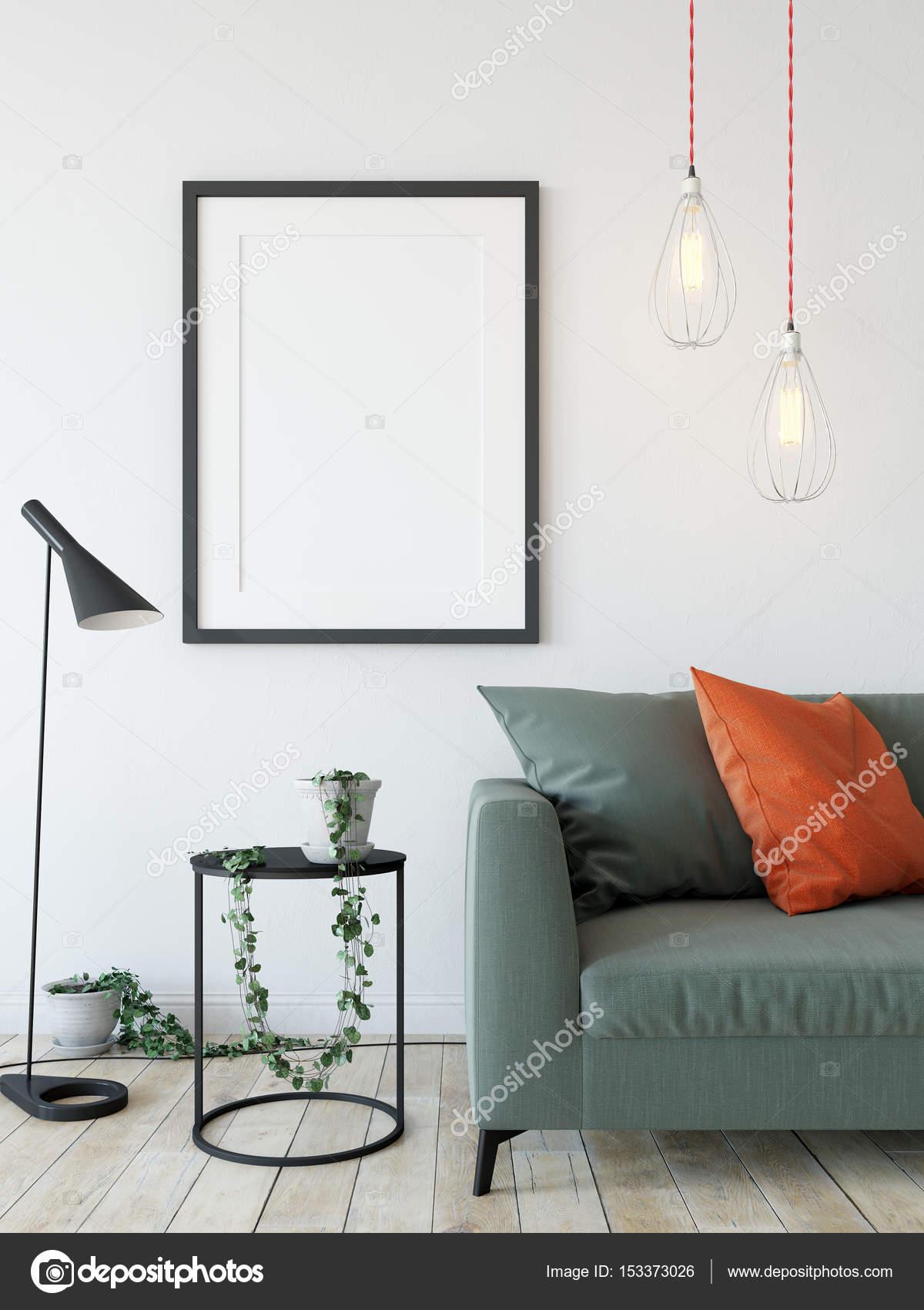 mock up posters in living room interior. — Stock Photo © Yuri-U ...