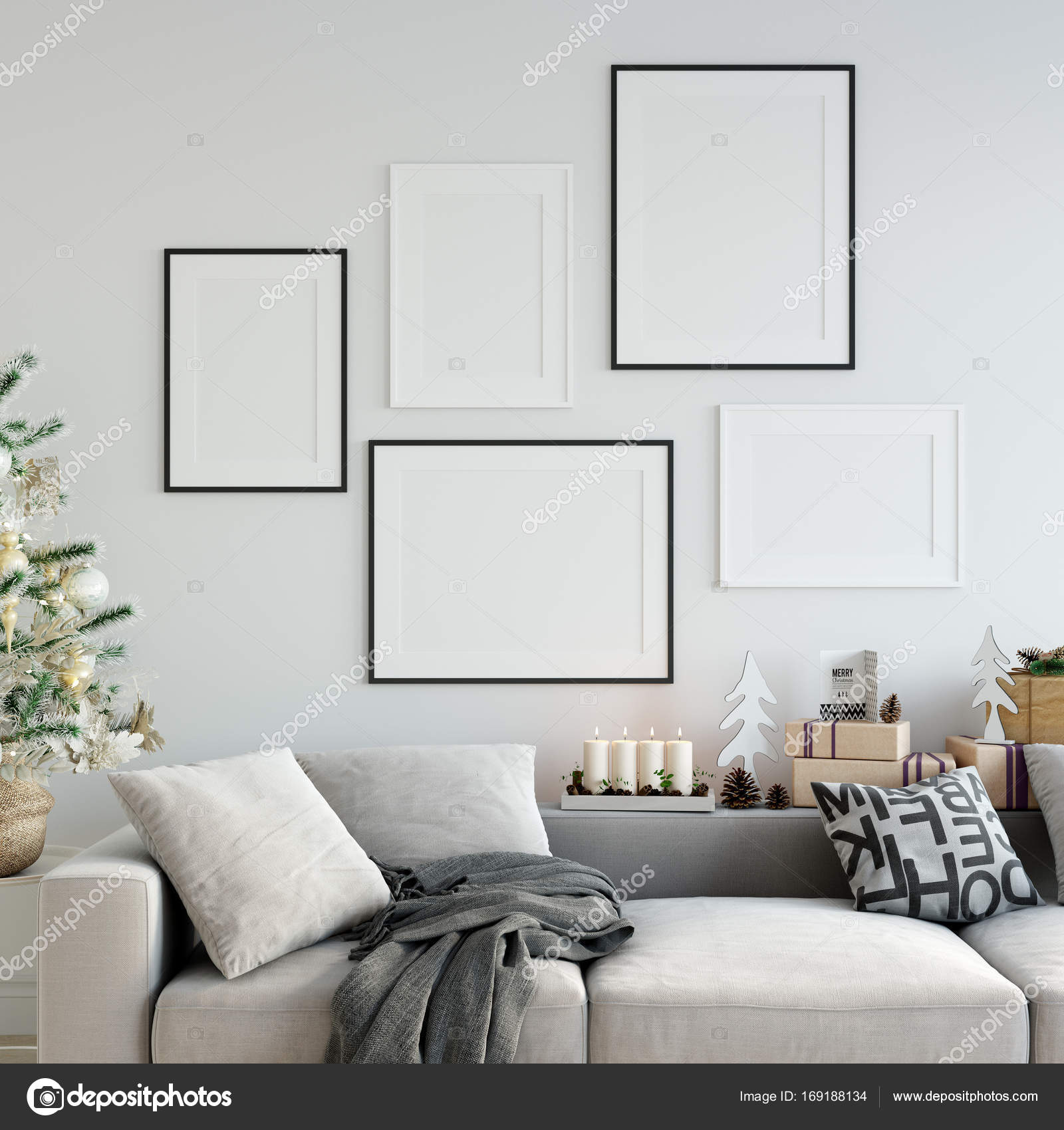 mock up posters in living room Christmas interior. Interior ...