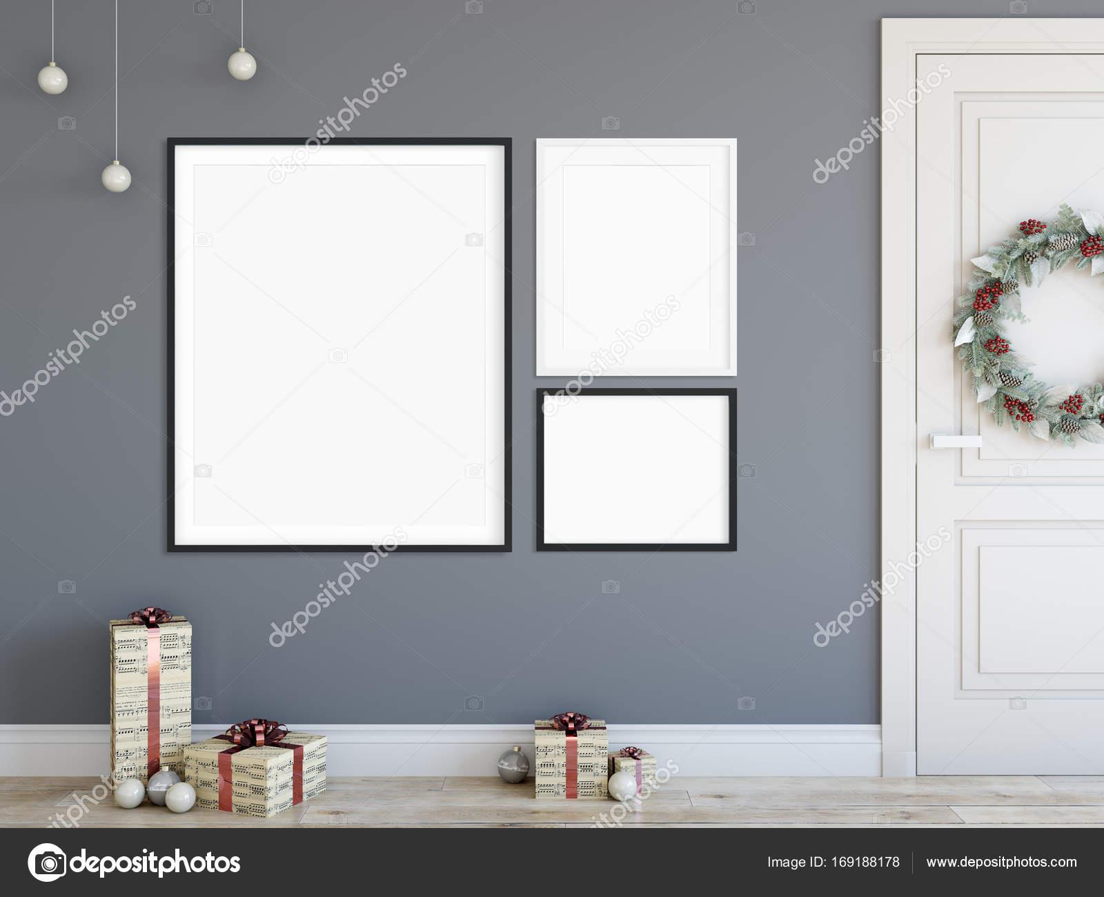 Posters In Interieur : Mock up poster im wohnzimmer weihnachten interieur