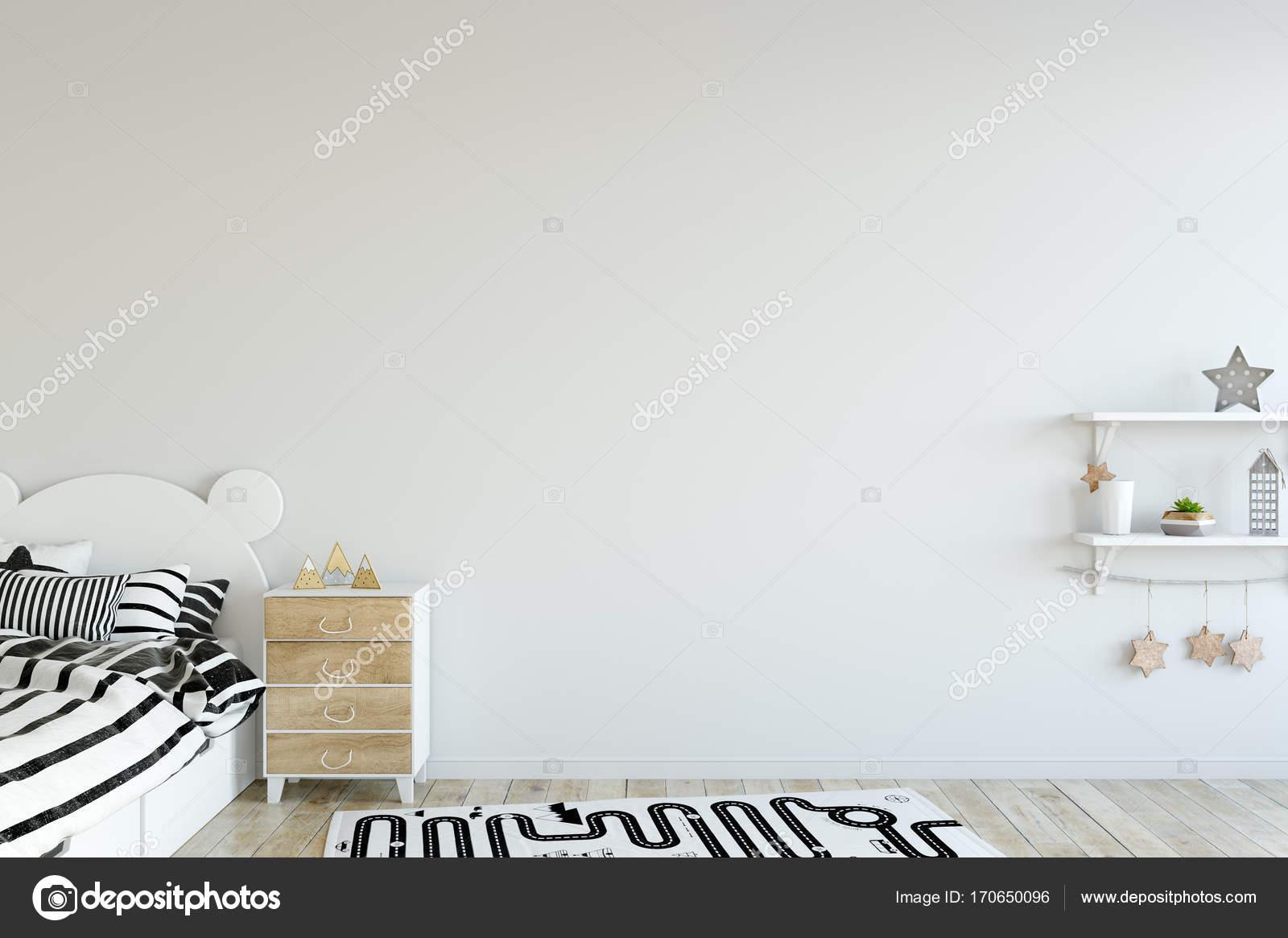 Exterior: Mock Up Wall In Child Room Interior. Interior Scandinavian
