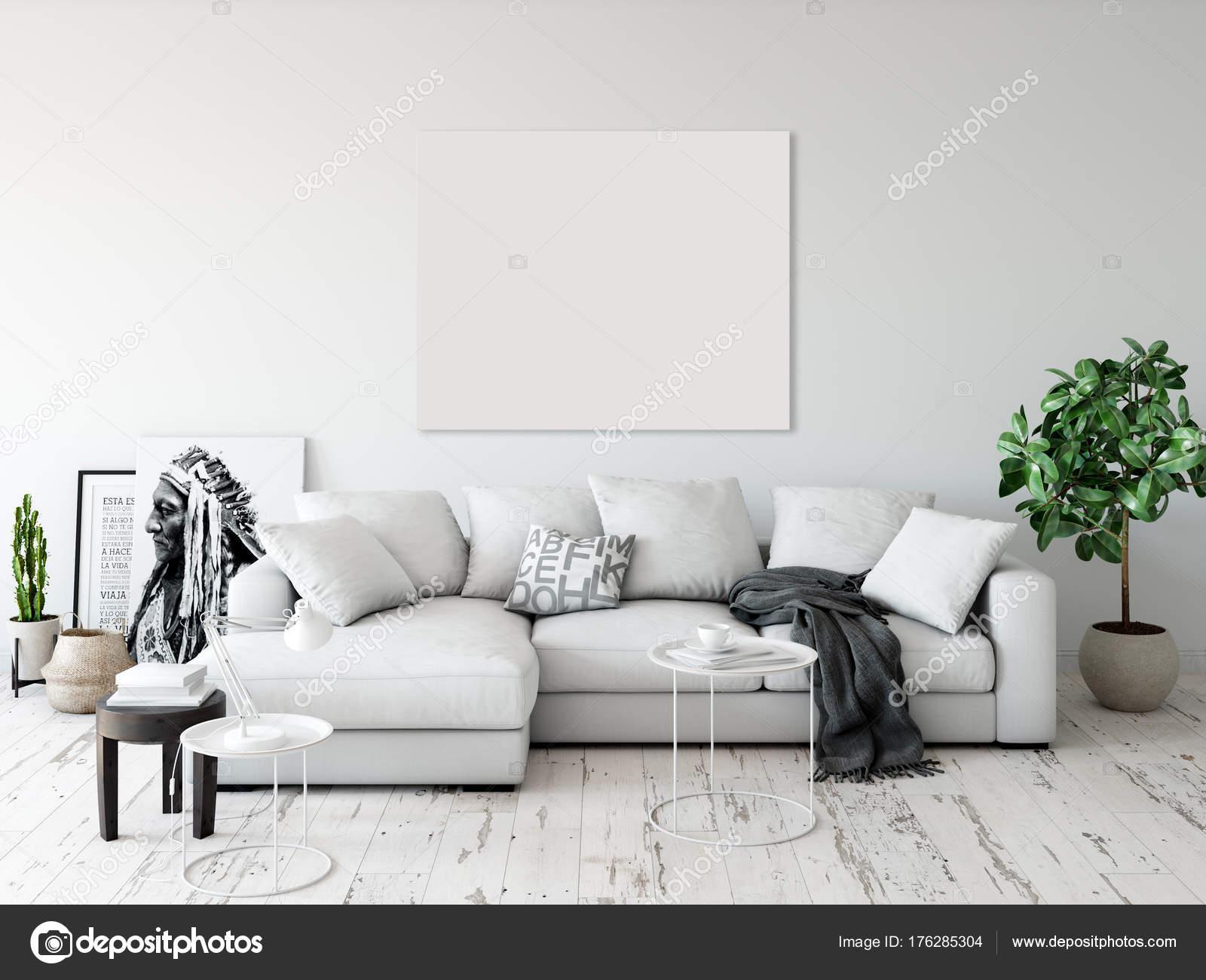 Mock Posters Living Room Interior Interior Scandinavian Style ...