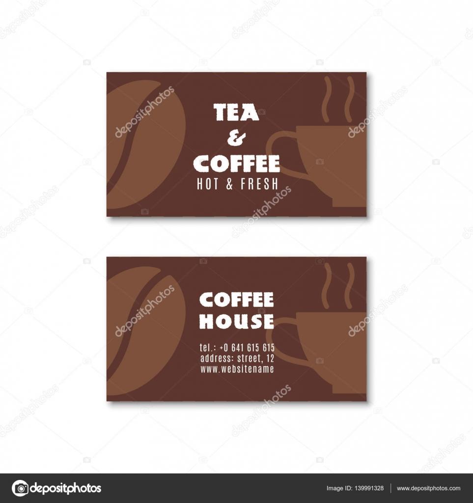 Carte De Visite Deux Cafe Ou Illustration Vectorielle Sur Fond Blanc Vecteur Par