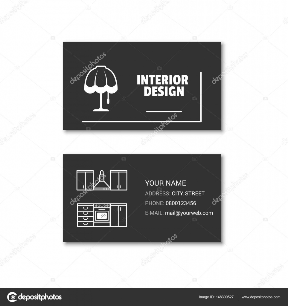 Simple Carte De Visite Larchitecte Dinterieur Illustration Stock