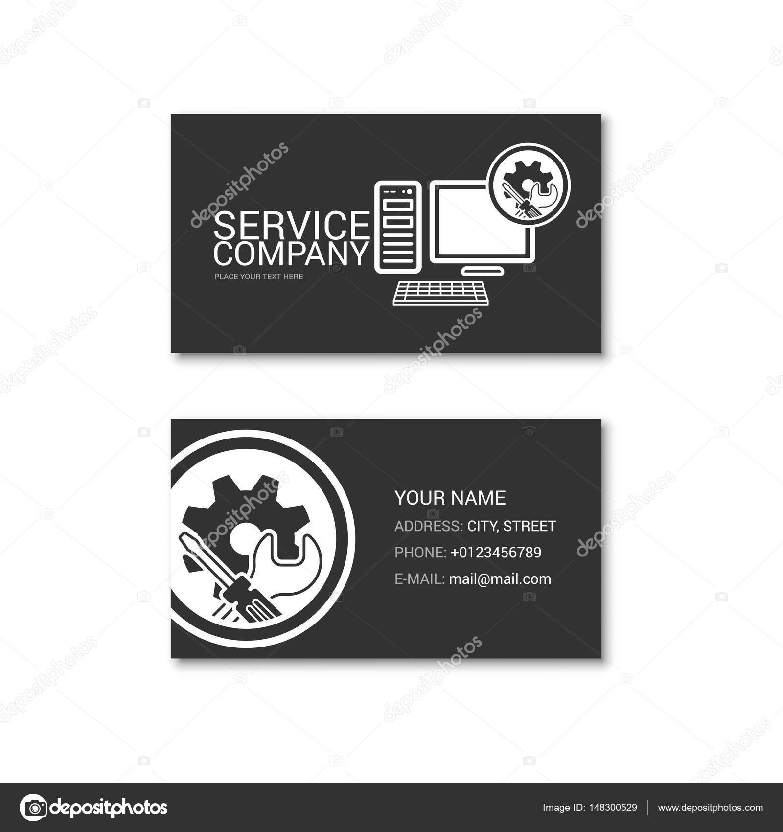 Simple business card of computer repair shop stock vector simple business card of computer repair shop stock vector reheart Images
