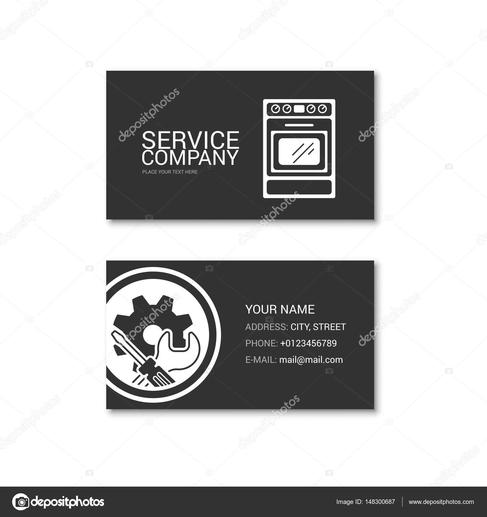 Simple Business Card Of Kitchen Stove Repair Shop Stock Vector