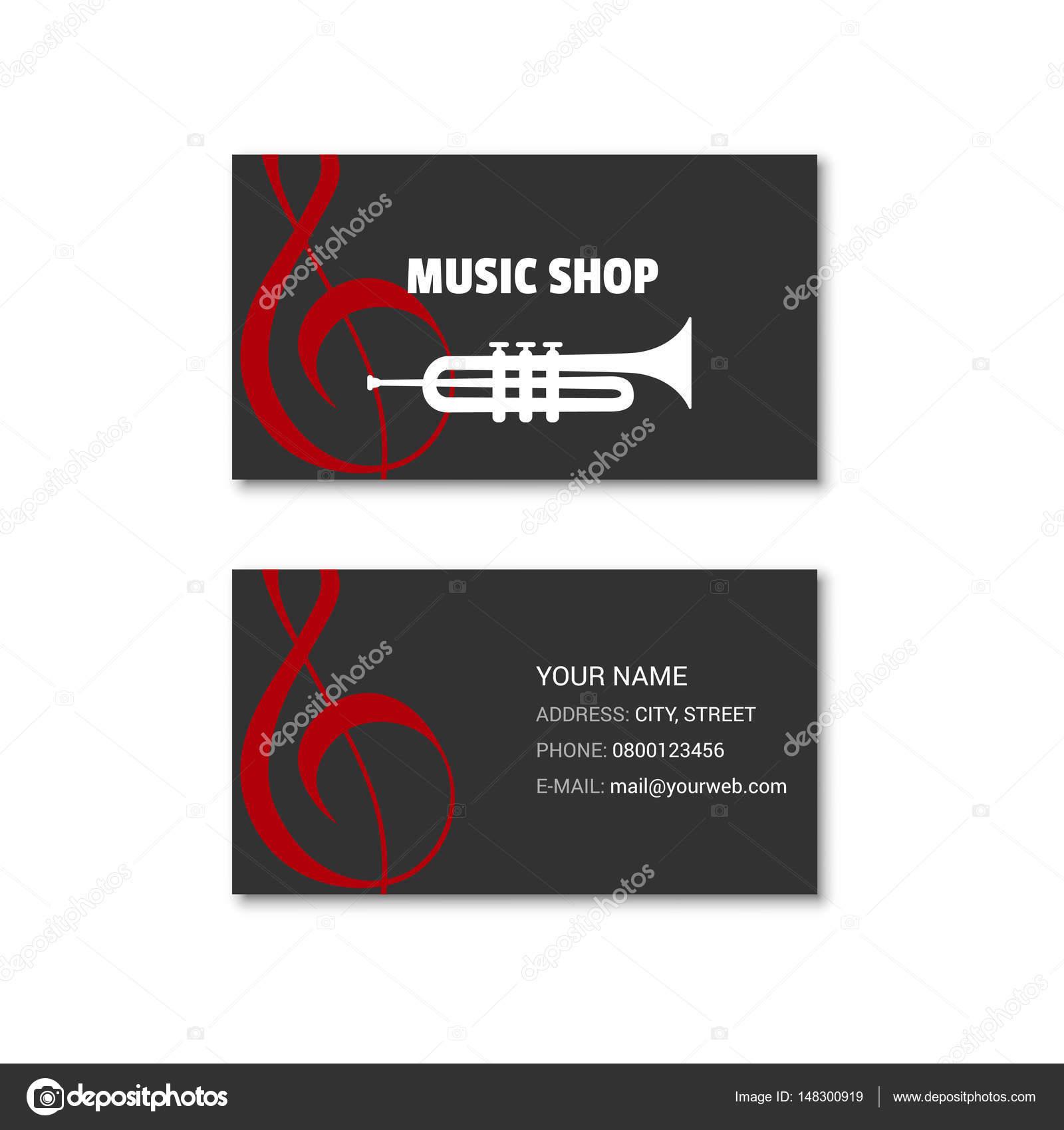 Simple Carte De Visite Du Magasin Musique Illustration Stock
