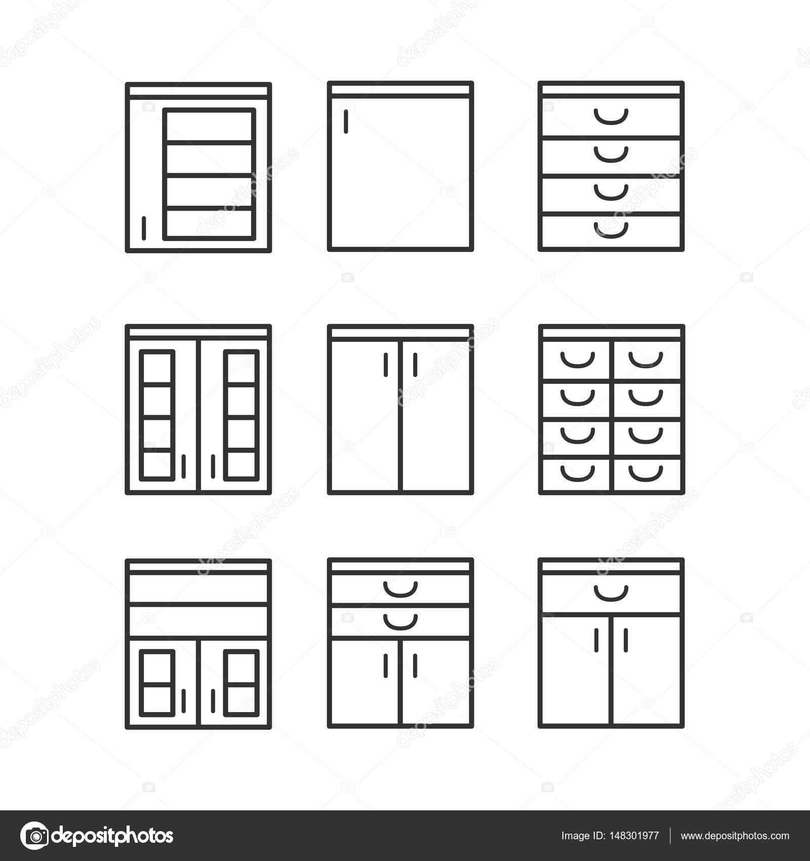 Küche-Interior Design-Ikone mit Möbeln im Stil — Stockvektor ...