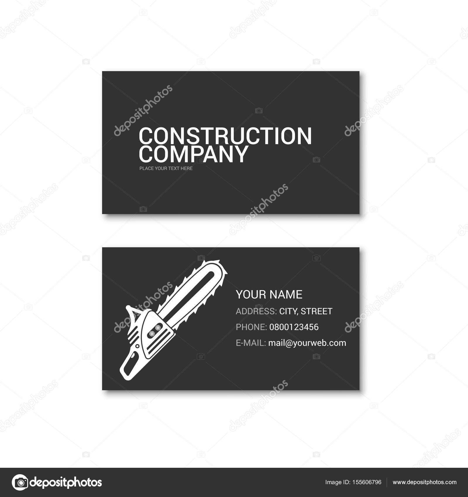 Simple business card of construction company — Stock Vector ...