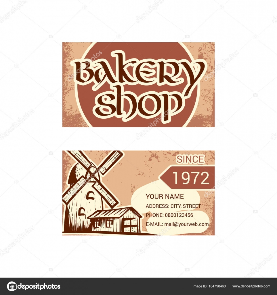 Business card for bakery shop — Stock Vector © evilrogue #164798460