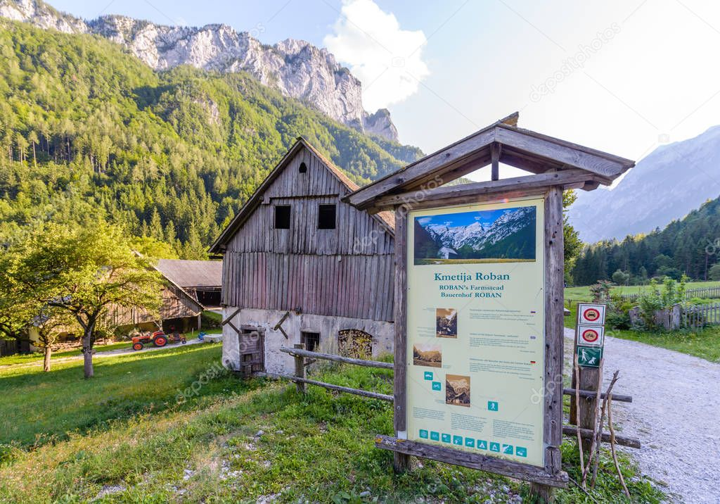 Idyllic landscape in the Alps, Roban farmstead, Slovenia