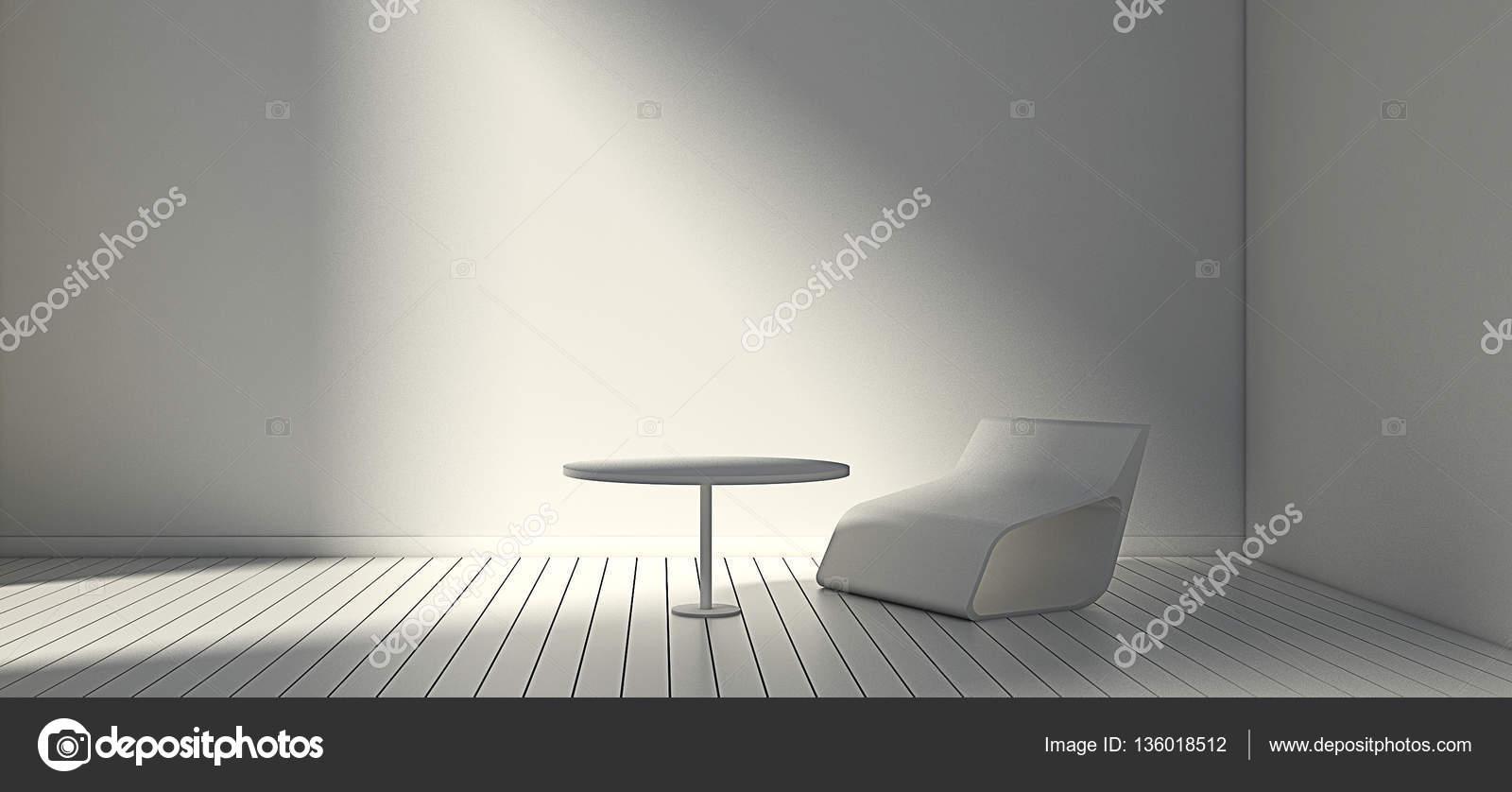 Cadeira Moderna Branca E Parede Na Sala De Estar Simples Imagem De