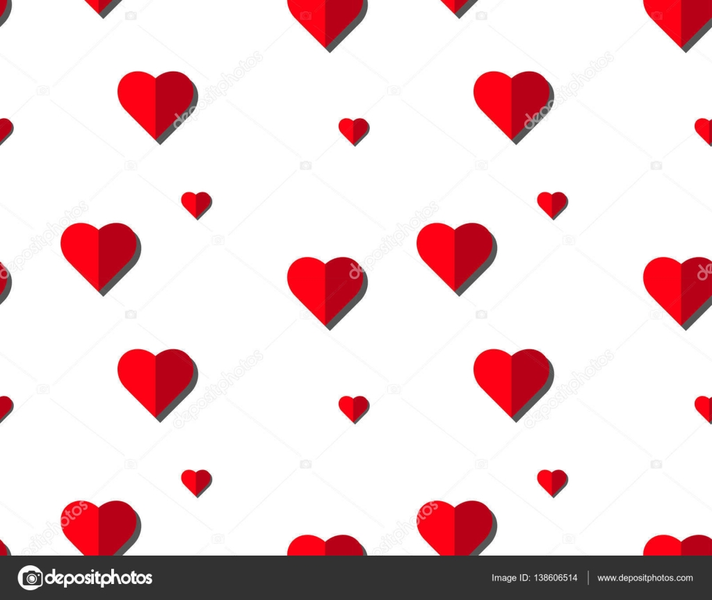 Heart vector seamless pattern on white background, illustration ...