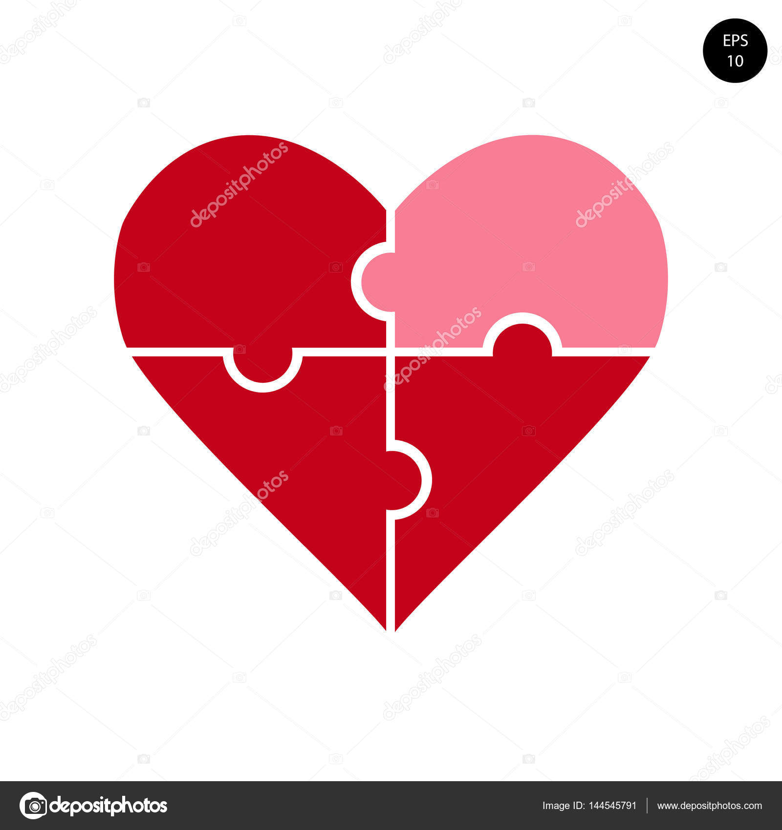 Vektor, Teile des Herzens, Puzzle, Valentinstag — Stockvektor © jene ...