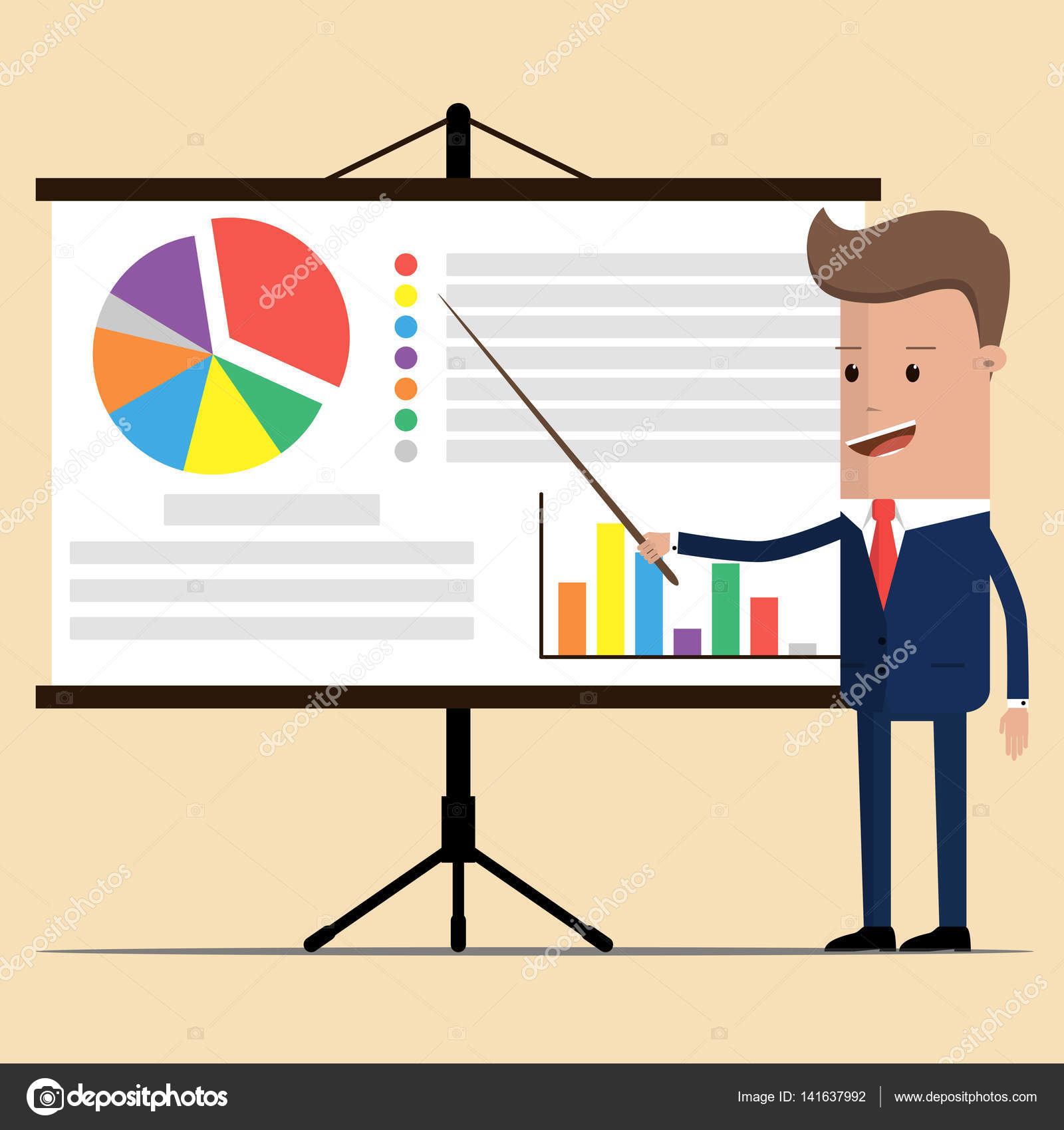 8cd1bb371db1 Businessman showing market share graph on billboard and presenting and  advertising on its vector illustration. manager in suit is giving a  presentation and ...