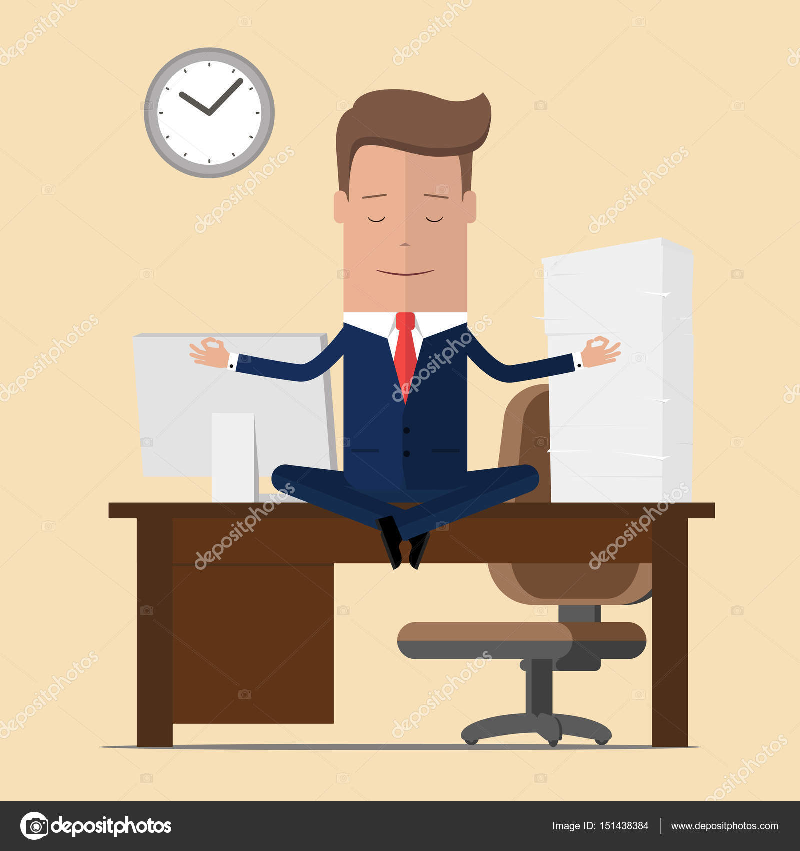 meditation office. Businessman Meditation In Office. Yoga At Job. Young Man Relaxing Lotus Position On Office 0