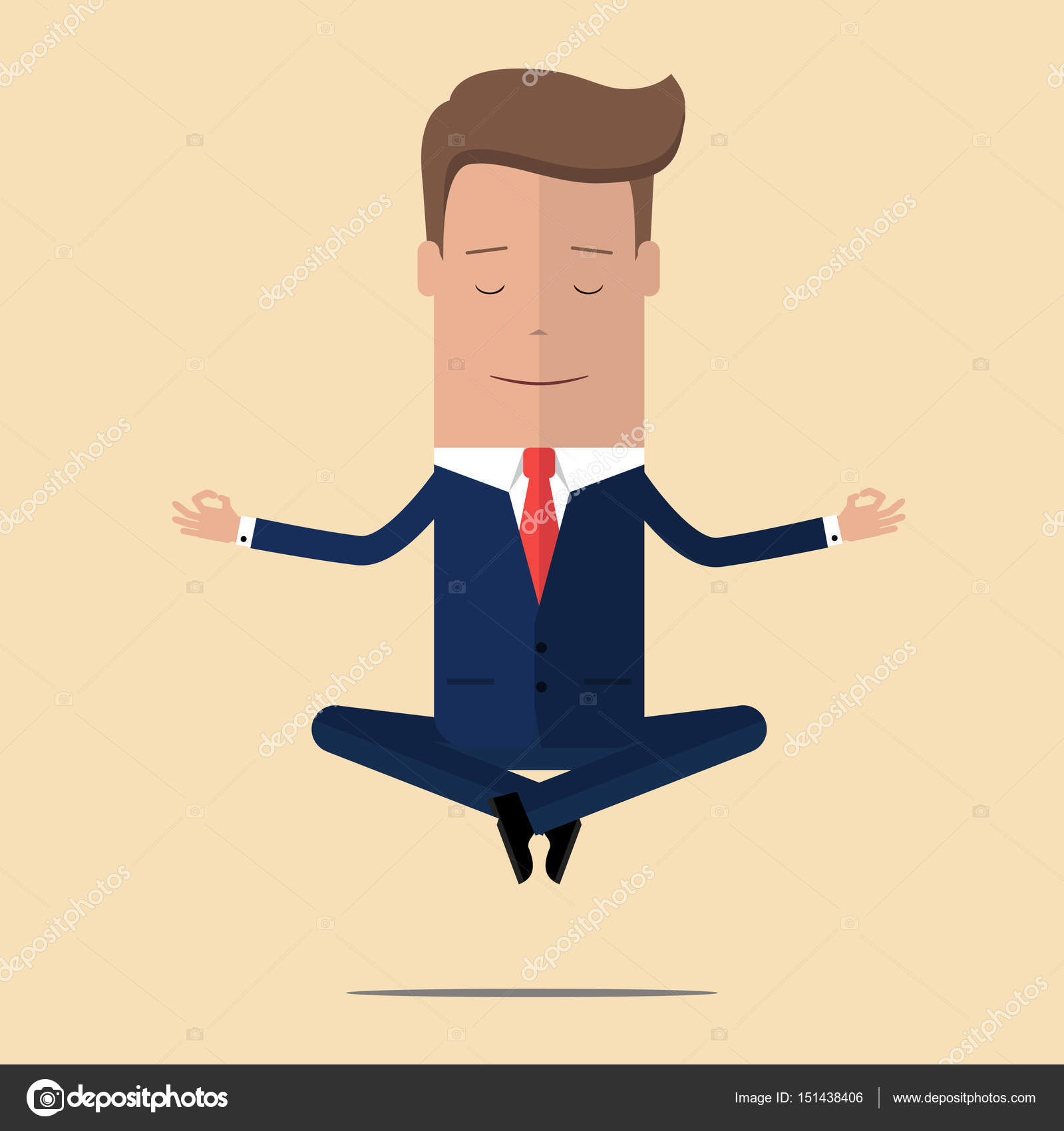 meditation businessman office. Office Meditation. Businessman Sitting In Yoga Lotus Pose, Relax And Hovering The Air Meditation S