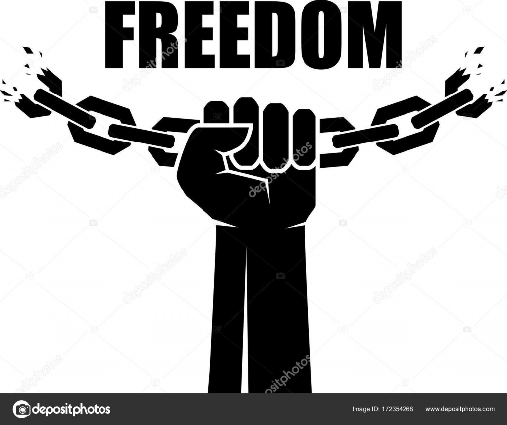 Freedom Icon Human Hands And Broken Chain Concept Vector Illustration Stock