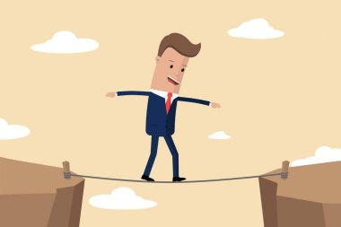 Businessman is walking a tightrope across the gap between the rocks. Businessman of the tightrope walker goes from one mountain to another, business concept risk and danger. Vector illustration