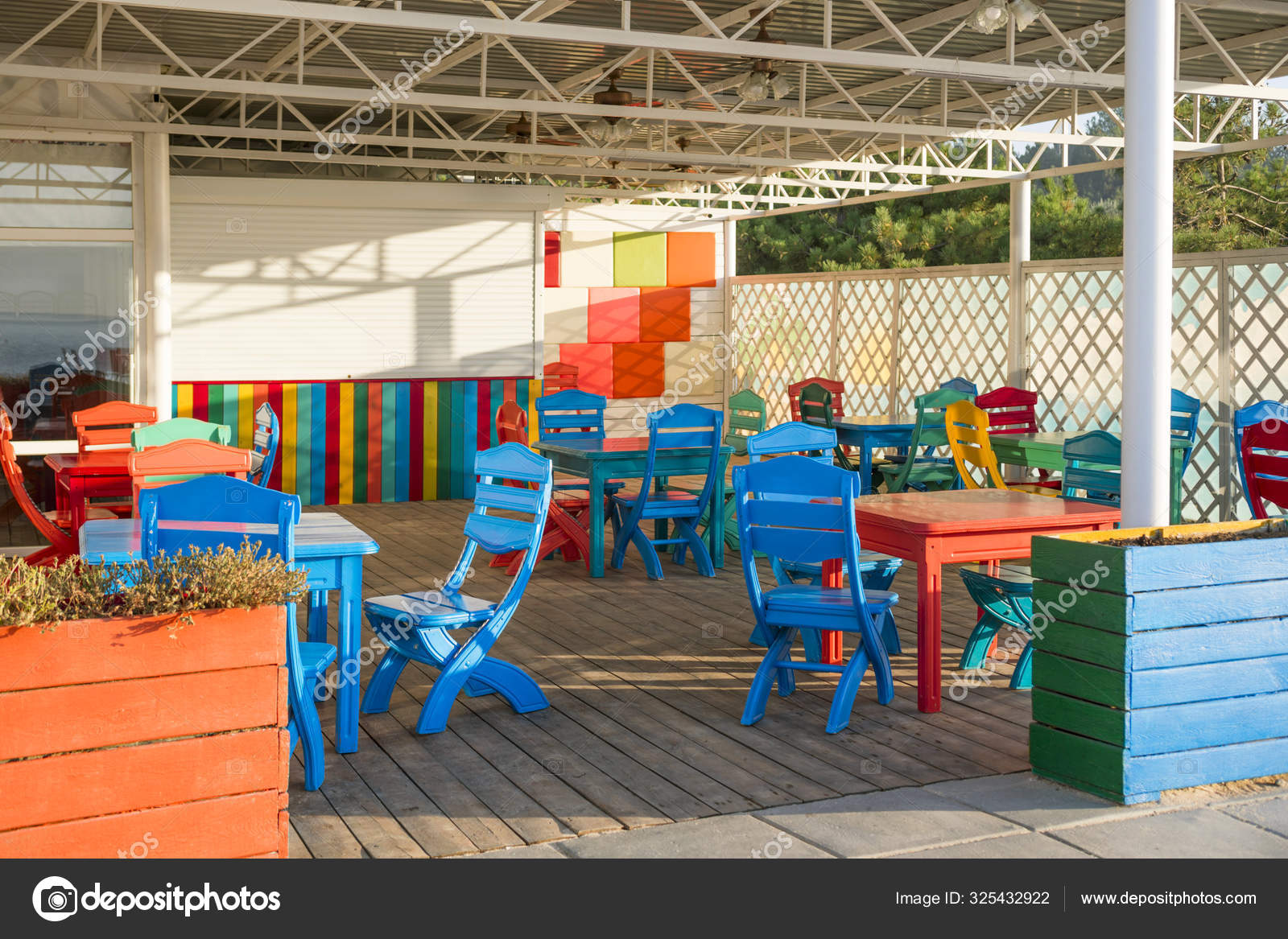Beach Cafe With Colorful Chairs Colorful Terrace At Modern Restaurant In Fancy Colors Stock Photo C Spyrakot 325432922