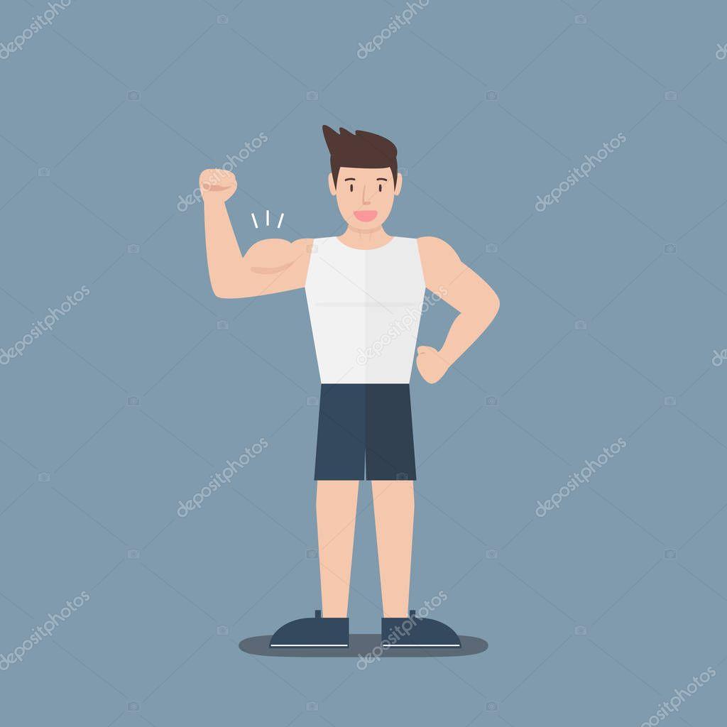 hombre de dibujos animados muscular fitness gimnasio Mostrar bíceps ...