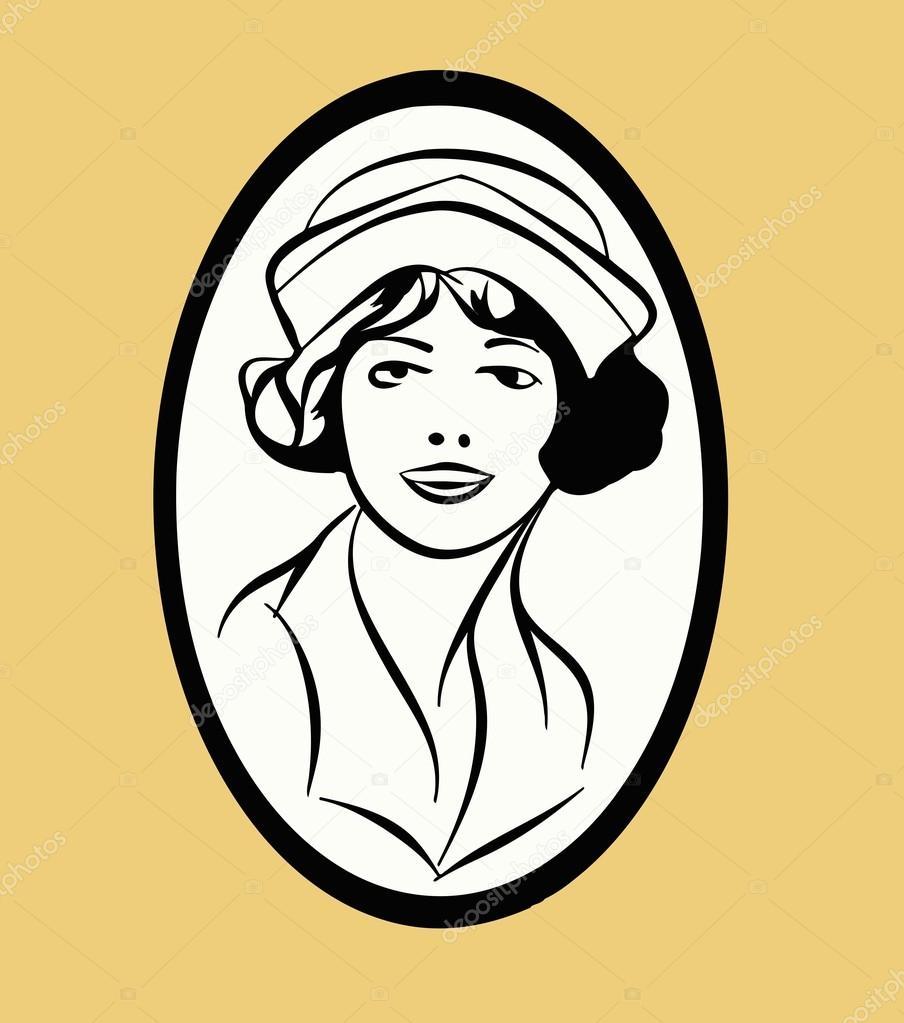 Skizze eines Mädchens in Retro-ovalen Rahmen — Stockvektor ...