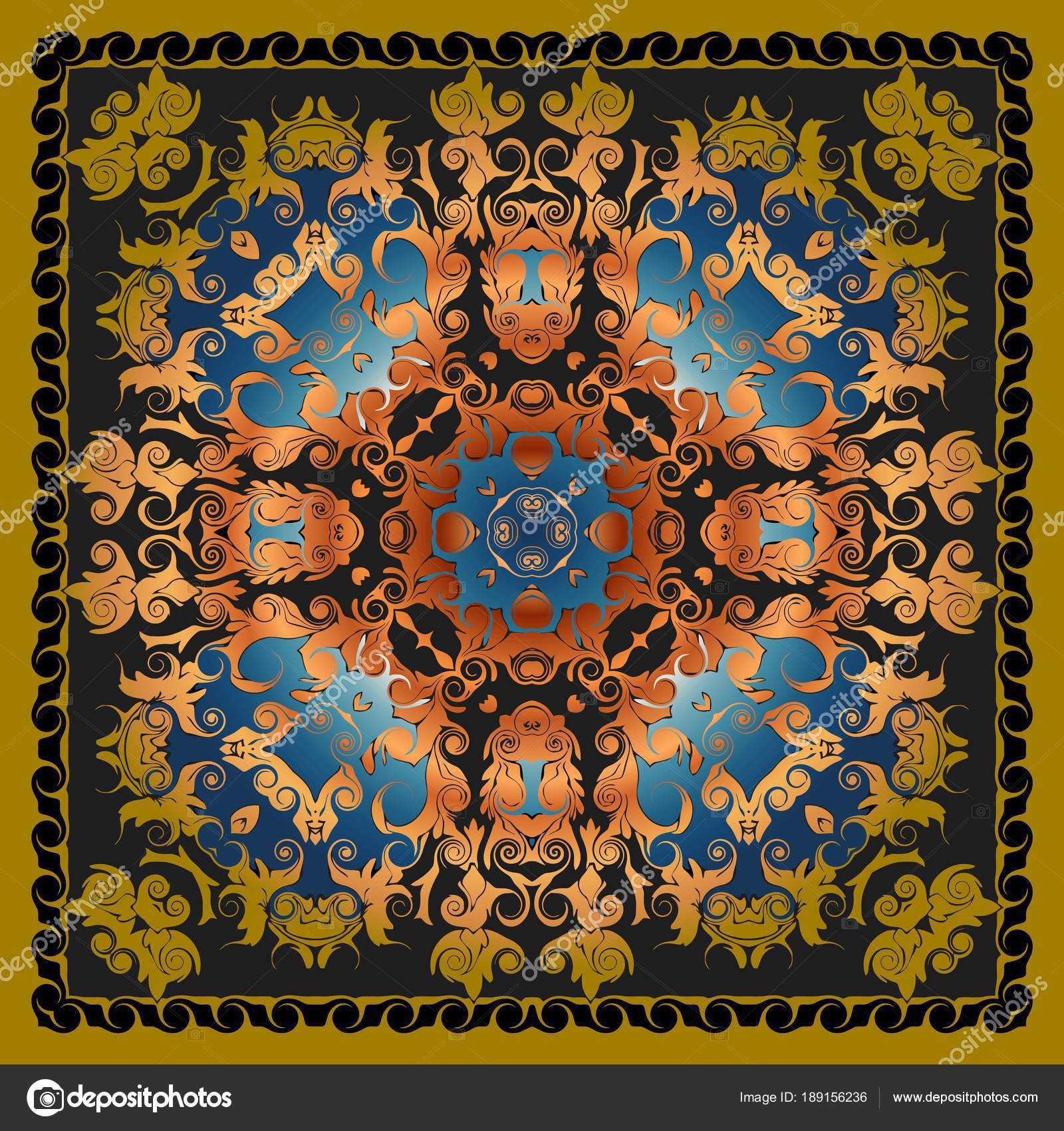 Decorative elements vector color pattern lace mandala on a dark background