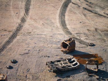Broken equipment in a stone quarry