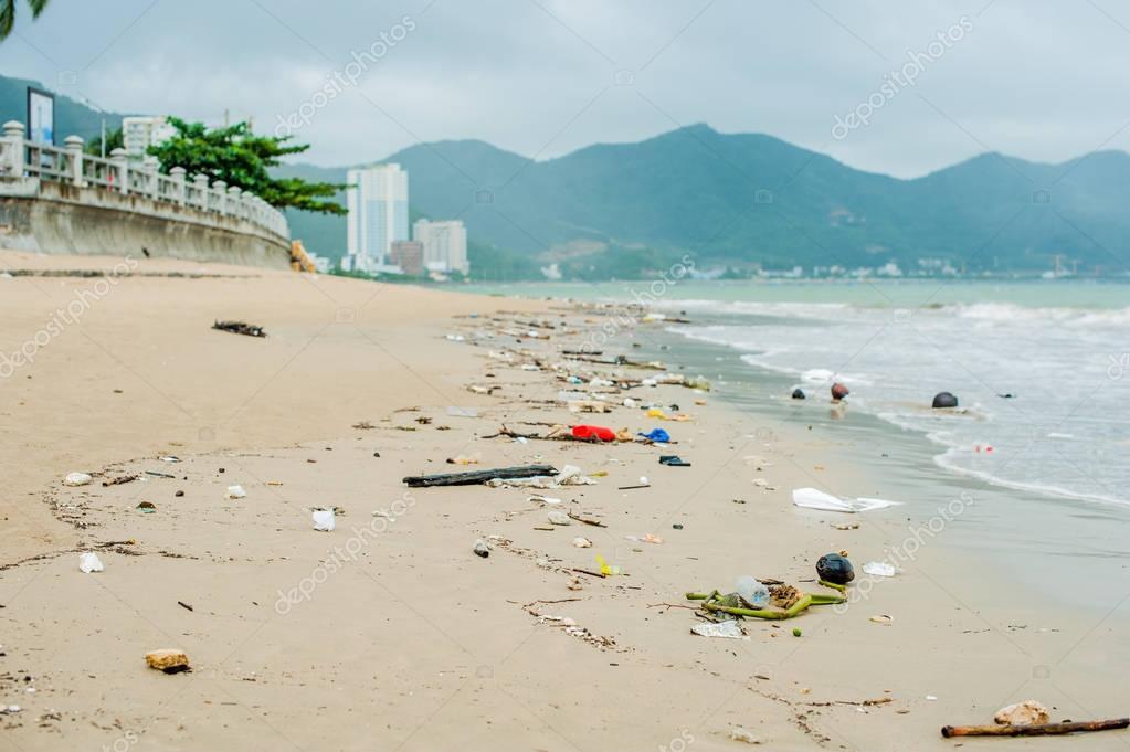Plastic bottles and other trash