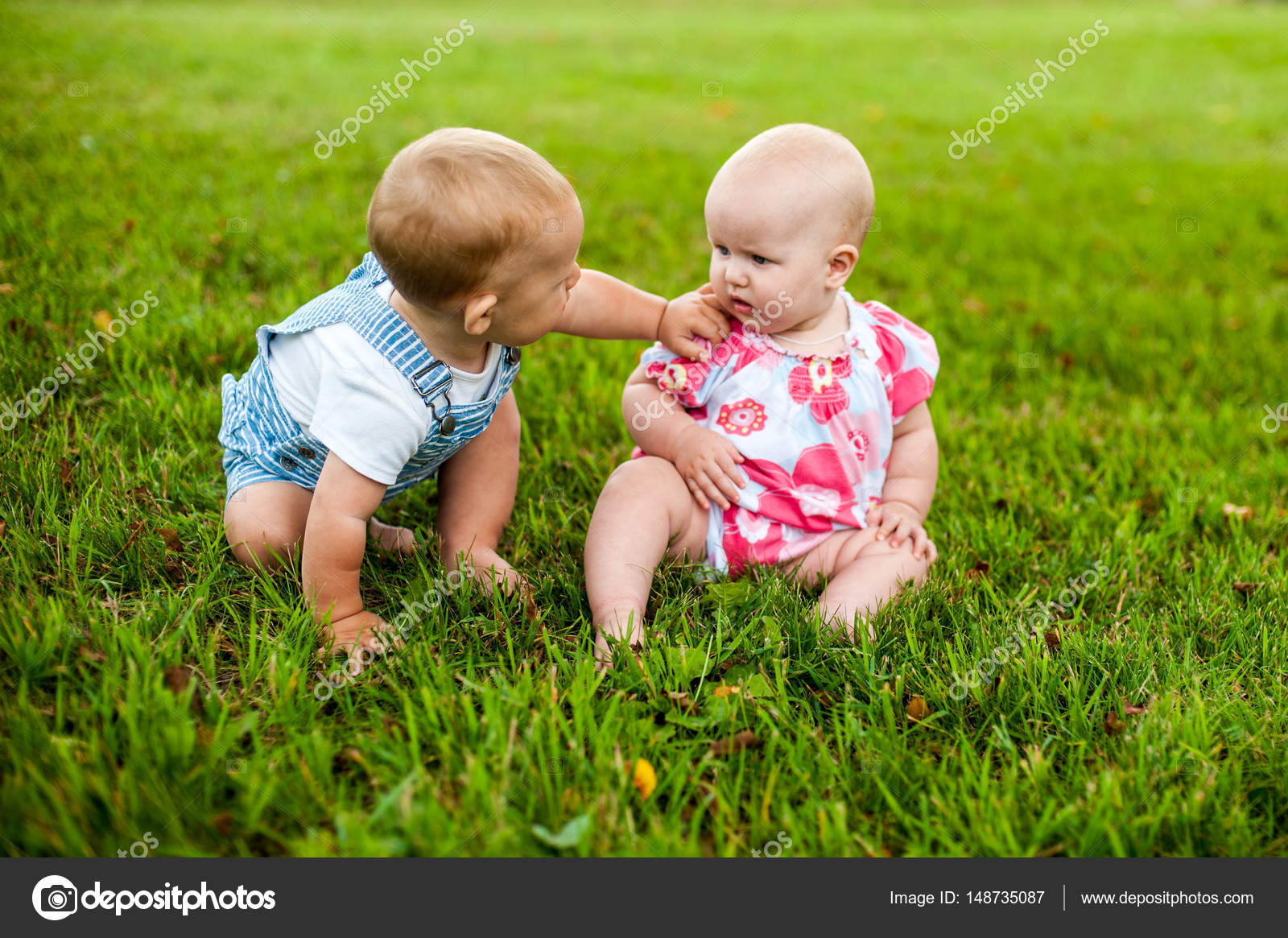 Two Happy Baby Boy And A Girl Stock Photo Galitskaya 148735087