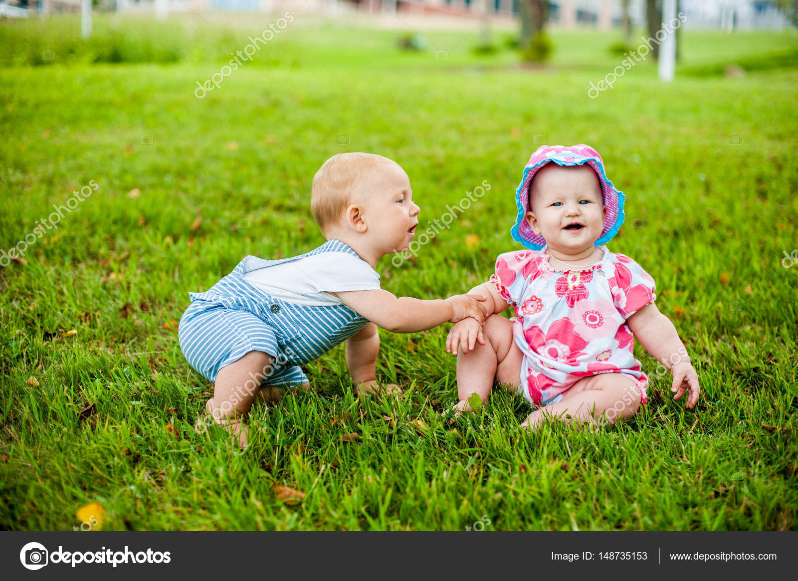 Two Happy Baby Boy And A Girl Stock Photo Galitskaya 148735153