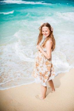 Girl walks  on the Boracay