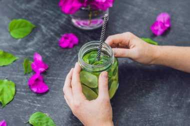 flowers and spring mojito drink